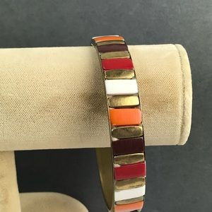 Vintage brass orange brown stripe bangle bracelet